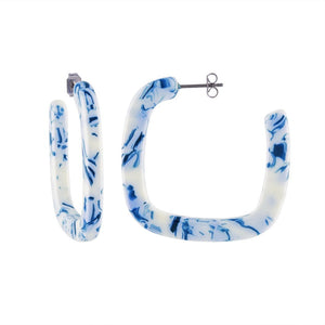 MIDI SQUARE TOILE HOOP EARRINGS  by MACHETE - Unearth Store