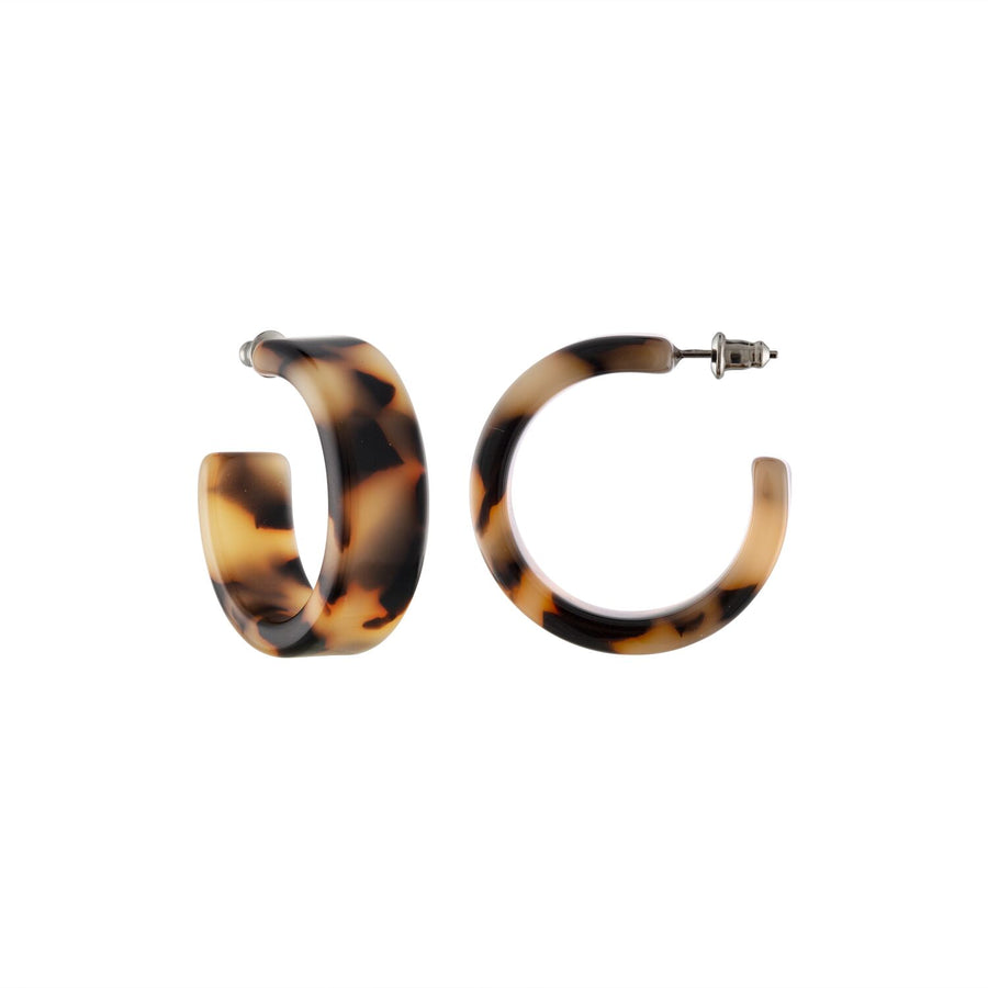 MIDI FLAT TORTOISE SHELL HOOP EARRINGS by MACHETE - Unearth Store