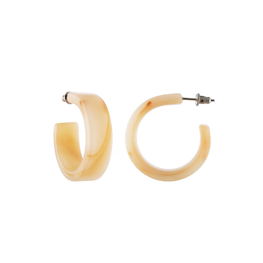 MIDI FLAT PEACH HOOP EARRINGS by MACHETE - Unearth Store