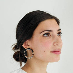 MIDI ISLA TORTOISE SHELL HOOP EARRINGS by MACHETE - Unearth Store