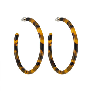 LARGE CLASSIC TORTOISE SHELL HOOP EARRINGS by MACHETE - Unearth Store