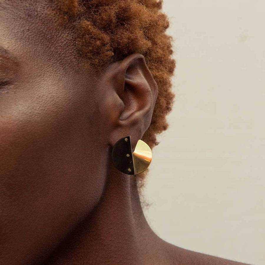 SIA STUD MIXED MATERIAL EARRINGS by SOKO - Unearth Store