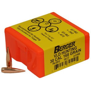 Berger 30 cal 168g Match VLD Hunting x 500