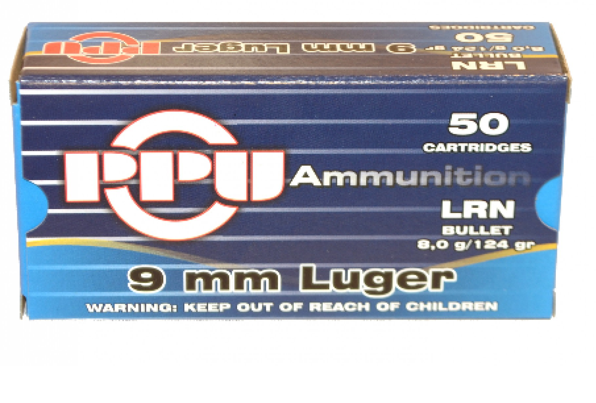 9mm Luger 50ct LRN 124gr PPU
