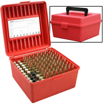 MTM 100 Round Magnum Ammo Box w/handle - Red