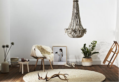 ELONGATED CLAY BEADED CHANDELIER