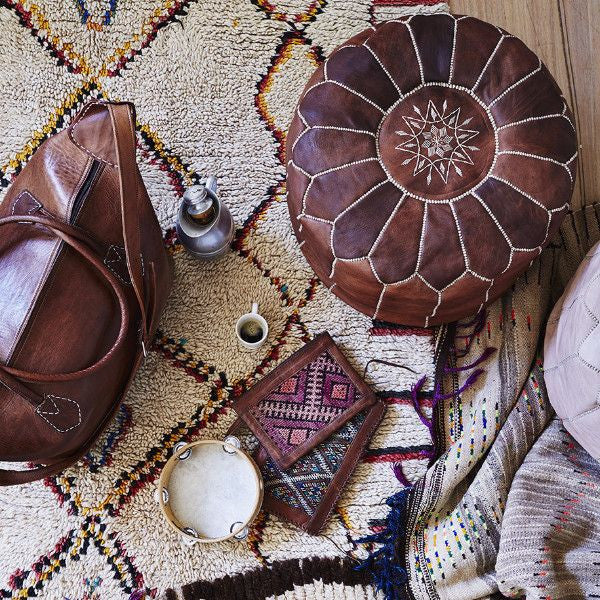 Moroccan Leather Pouffes - ATELIER LANE | interior design hong kong | designer homewares australia