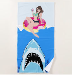 "Cupcake Cartel ""Swim with Sharks""  Beach Towel"