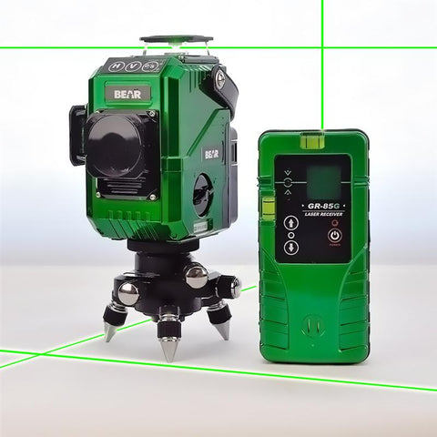 Bear 3D Green Beam Multi Line Laser Level, Dual Vertical and Single Horizontal 360