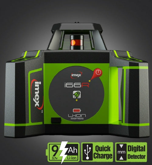Imex i66R Rotating Laser Level Horizontal only with LRX6 Laser Receiver and Tripod & 5m Staff