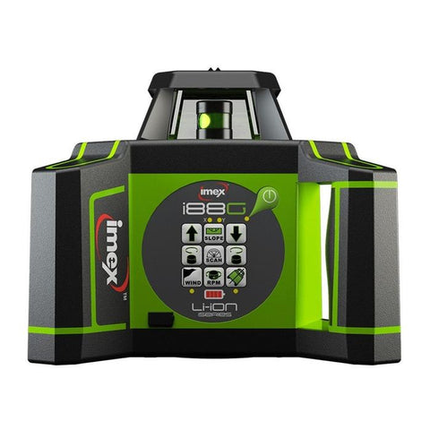 Imex i88G H/V Green Beam Rotating Laser Level with LRX10 Laser Receiver and Tripod & 5m Staff