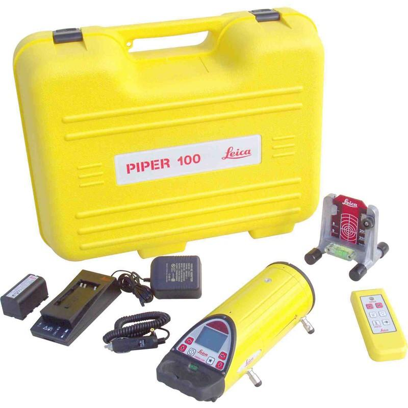 Leica PIPER Red Beam Pipe Laser Level 100 with Remote, Target, and Li-Ion Battery