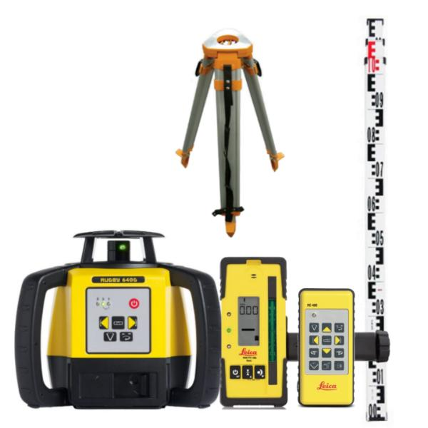 Leica Rugby 640G Rotating Laser Level Green Beam with RE120G Laser Receiver Multi purpose kit - Lion