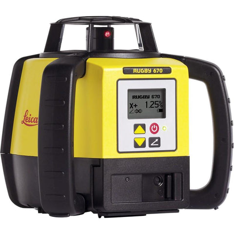Leica Rugby 670 Rotating Grade Laser Level with RodEye 160 Digital Laser Receiver