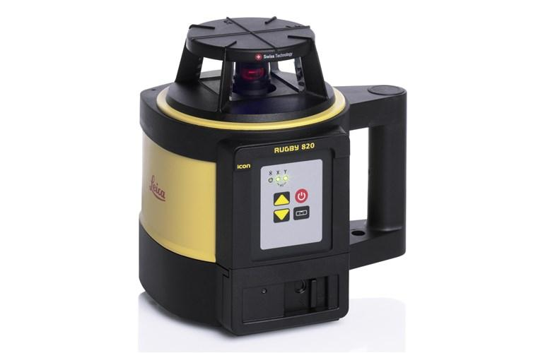 Leica Rugby 820 Rotating Laser Level Alkaline Pack with RodEye 160 Digital Laser Receiver, RC800