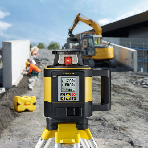 Leica Rugby 880 Rotating Dual Grade Laser Level with RodEye 160 Digital Laser Receiver - Li ion