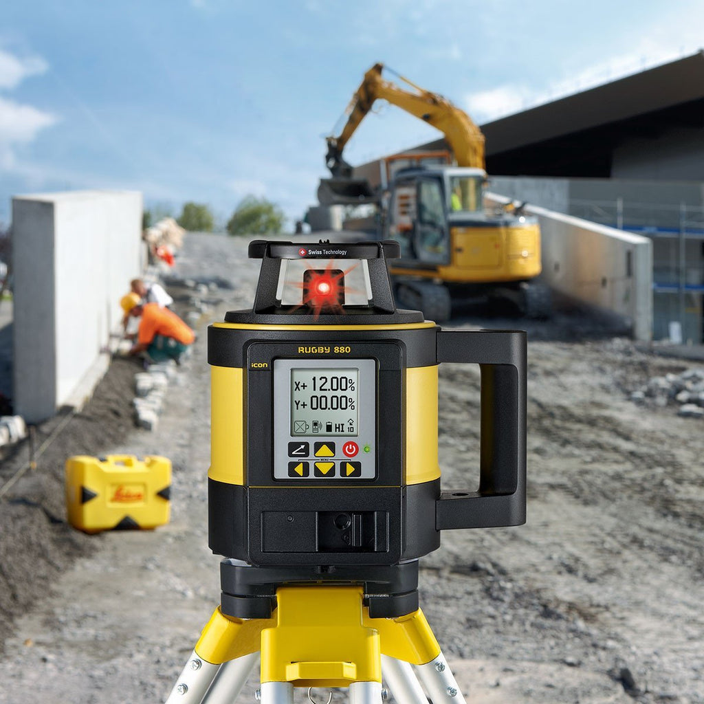 Leica Rugby 880 Rotating Dual Grade Laser Level with RodEye 180a Digital Laser Receiver - RC800