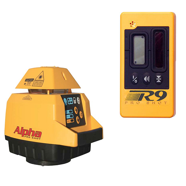Pro Shot Alpha Rotary Laser Level, Alpha inc - R9 Laser Receiver, Rotating Laser Tools