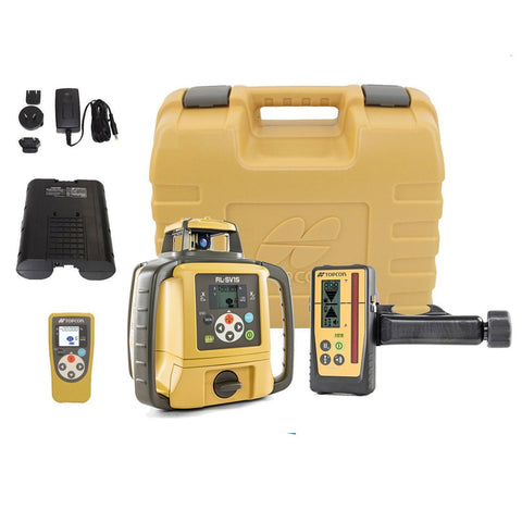 Topcon RL-SV1S Single Grade Rotary Laser Level, Rechargeable PREMIUM - LS100D Receiver, Rotating Laser Level