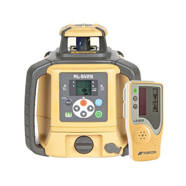 Topcon RL-SV2S Dual Grade Laser Level, Dry Battery STANDARD - LS-80 receiver, Rotating Laser Level, Rotary Grade Laser Level