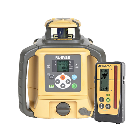 Topcon RL-SV2S Dual Grade Laser Level, Rechargeable PREMIUM - LS100D Receiver, Rotating Laser Level, Rotary Grade Laser Level