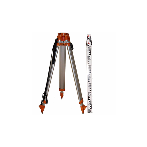 Topcon STANDARD Dome Aluminium Tripod & 3m 5 section E-face staff