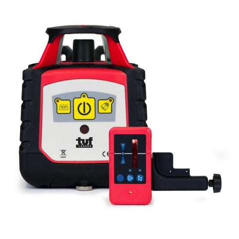 Tuf Lasers HVB Rotating Laser Level Basic Level Control Red Beam & Laser Receiver