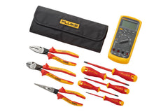 Fluke IB875K 87v Multimeter + Insulated Hand Tools Starter Kit (5 Insulated Screwdrivers and 3 Insulated Pliers) in Roll-up Tool Pouch