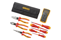 Fluke IB117K 117 Multimeter + Insulated Hand Tools Starter Kit (5 Insulated Screwdrivers and 3 Insulated Pliers) in Roll-up Tool Pouch