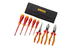 Fluke IKST7 Insulated Hand Tools Starter Kit – 5 Screwdrivers + 3 Pliers, 1000v (3 Slotted, 2 Phillips, Long Nose Plier, Diagonal Cutter, Linesman Combination Plier) in Roll-up Tool Pouch