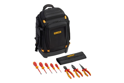Fluke IKPK7 Pack30 Professional Tool Backpack + Insulated Hand Tools Starter Kit (5 Insulated Screwdrivers & 3 Insulated Pliers) in Roll-up Tool Pouch