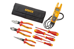 Fluke IBT6K T6 Electrical Tester + Insulated Hand Tools Starter Kit (5 Insulated Screwdrivers and 3 Insulated Pliers) Roll-up Tool Pouch