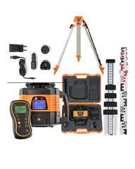 geo-FENNEL FL 150H-G Dual Grade Laser Level Package with Tripod, Staff & Receiver