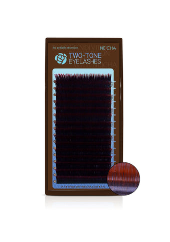 Two-Tone Eyelashes Black-Red Mix Tray