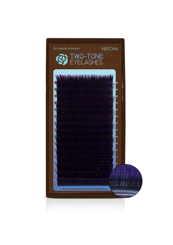 Two-Tone Eyelashes Black-Violet Mix Tray