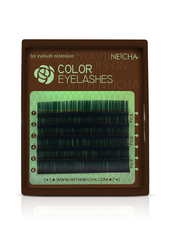 Mini Tray Green Color Eyelashes