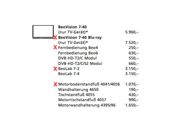 BeoVision 7-40 MK5 Full-HD LED-TV mit Bluray Player (2010)