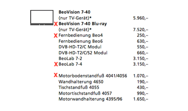 BeoVision 7-40 MK4 Full-HD LED-TV mit Bluray Player (2009)