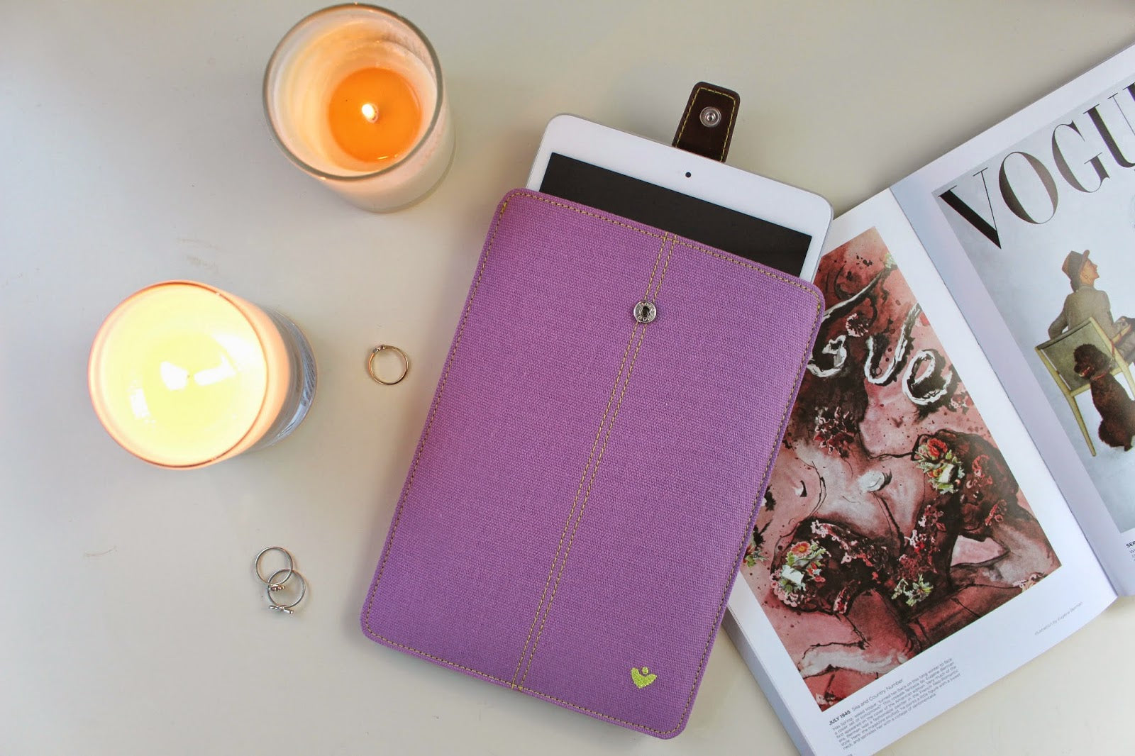 NueVue Purple iPad mini case with safety locking ejection strap