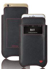 NueVue iPhone 11 and iPhone XR Wallet Case Napa Leather | Black | Sanitizing Screen Cleaning Case