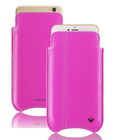 Pink Genuine Leather 'Built-in Screen Cleaning Technology' iPhone 7 pouch case.