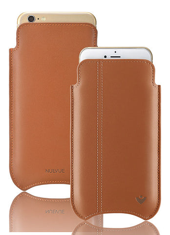 Tan Napa Leather 'Screen Cleaning' cover for Apple iPhone SE, 5 sleeve case with protective antimicrobial lining & orange stitching