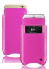 NueVue iPhone 11 and iPhone XR Case Napa Leather | Hot Pink | Screen Cleaning Sanitizing Case