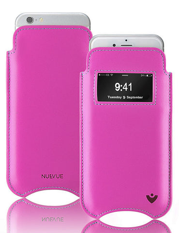 iPhone 6/6s Plus Case in Pink Napa Leather with Smart Window | Screen Cleaning and Sanitizing Lining