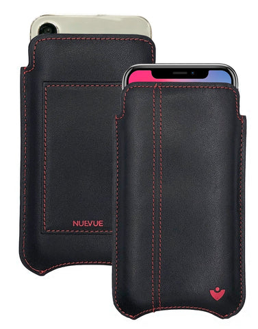 NueVue iPhone X Leather Black with Red Phone Wallet Case