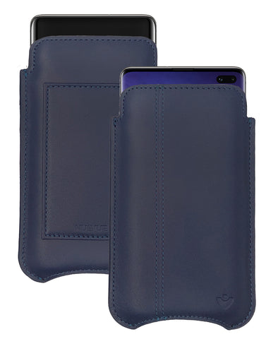 Samsung Galaxy S10+ Blueberry Blue Leather Wallet Screen Cleaning Case | NueVue