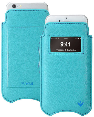 Blue Vegan Leather Screen Cleaning sleeve for Apple iPhone 6/6s smart window wallet case, with antimicrobial lining