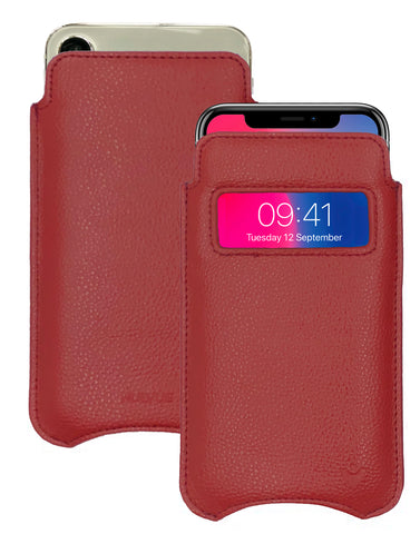 NueVue iPhone X faux leather case Window Red