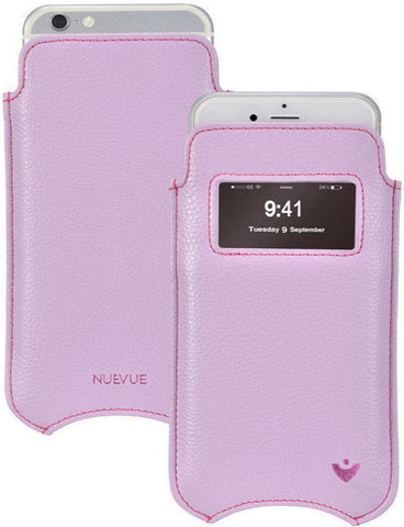 Purple Faux Leather Built-in Screen Cleaning Technology iPhone 7 Plus pouch case.