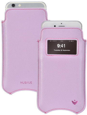 iPhone 8 / 7 Window Pouch Case in Purple Faux Leather | Screen Cleaning and Sanitizing Technology
